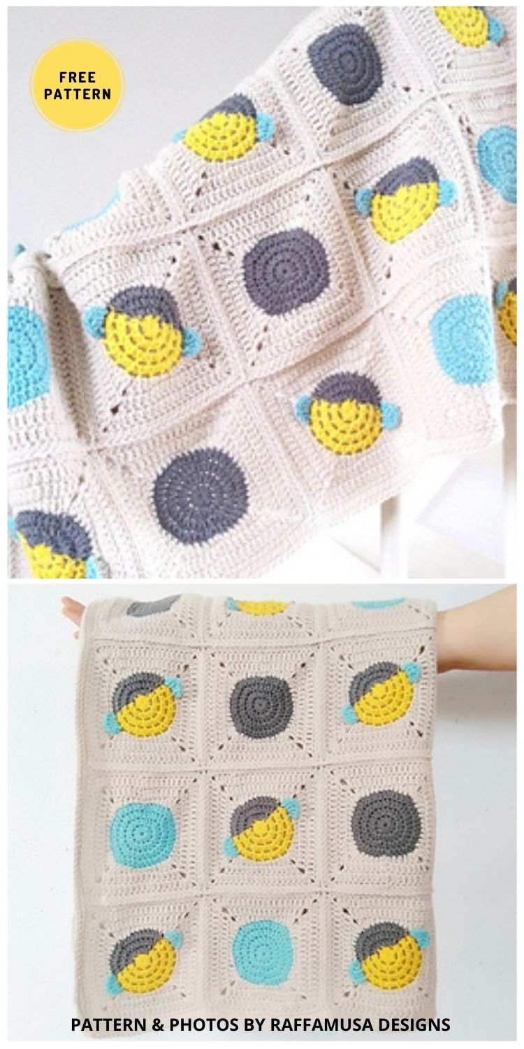 Bumble Bee Granny Square Blanket - 9 Super Cute Bee Blanket Crochet Patterns