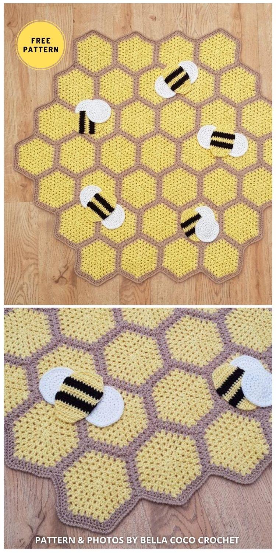 Busy Bumble Blanket - 9 Super Cute Bee Blanket Crochet Patterns
