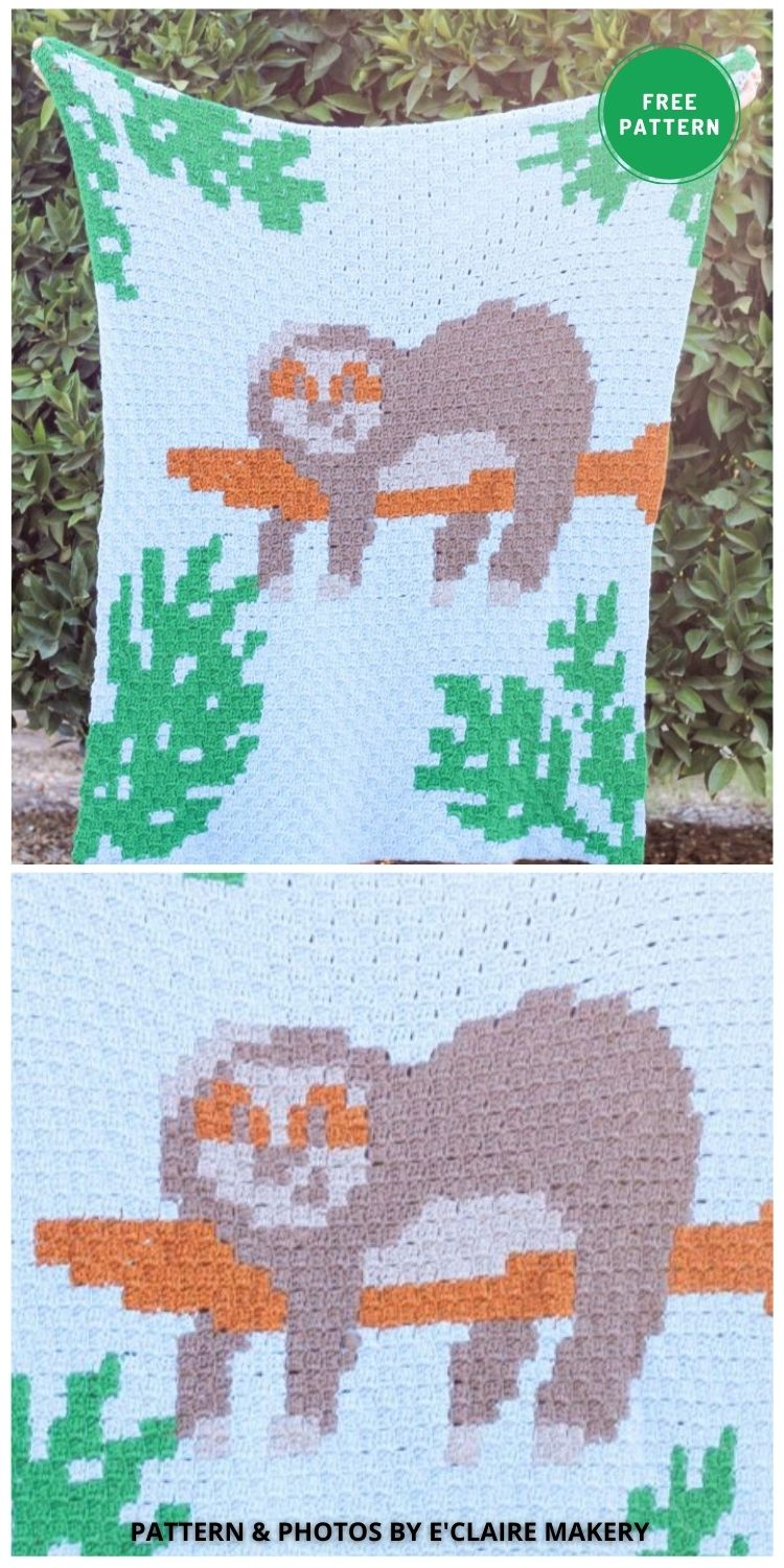 C2C Sloth Blanket - 5 Free Crochet Sloth Blanket Patterns For Your Little One