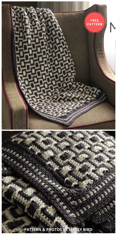 Chic Modern Mosaic Blocks Throw - 7 Free Unique Mosaic Blanket Crochet Patterns To Make