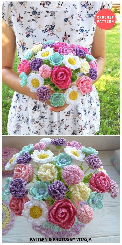 Crochet Bouquet - 9 Beautiful Crochet Wedding Flower Bouquets For The Bride