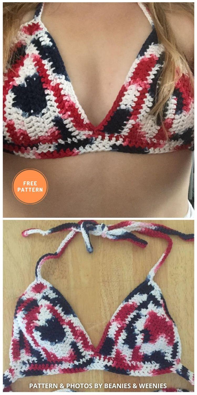Crochet Bralette for the 4th of July - 11 Free & Easy Crochet Bralette Patterns For Summer