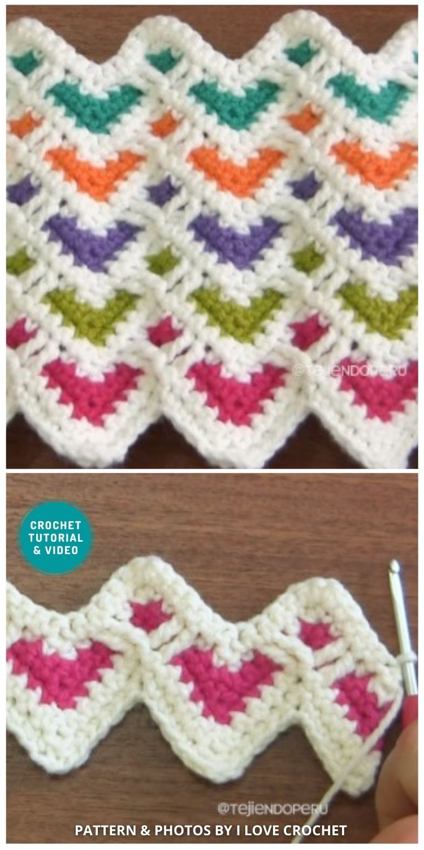 Crochet Hearts Zigzag Stitch - 6 Different Crochet Zigzag Stitch Patterns For Blankets