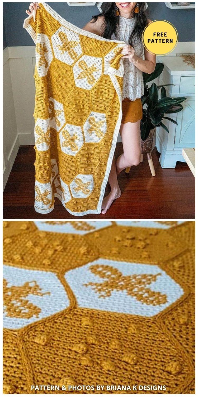 Crochet Honey Bee Blanket - 9 Super Cute Bee Blanket Crochet Patterns
