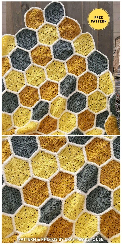 Crochet Honeycomb Baby Blanket - 9 Super Cute Bee Blanket Crochet Patterns