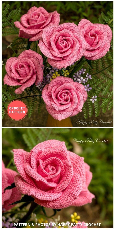 Crochet Rose - 9 Beautiful Crochet Wedding Flower Bouquets For The Bride