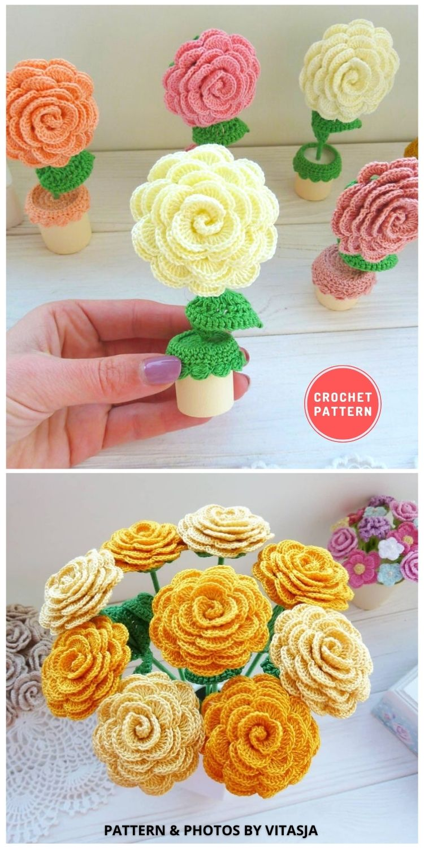 Crochet Rose in a Pot - 9 Beautiful Crochet Wedding Flower Bouquets For The Bride