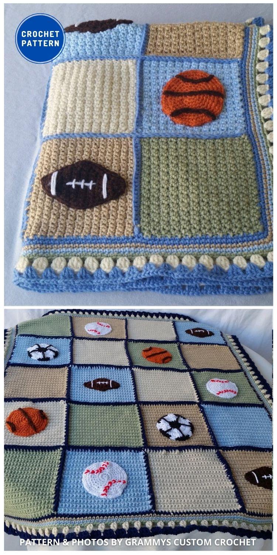 Crochet Sports Blanket - 7 Father's Day Crochet Blanket Ideas