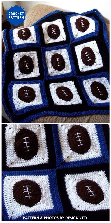 Football Fever Crochet Afghan - 7 Father's Day Crochet Blanket Ideas