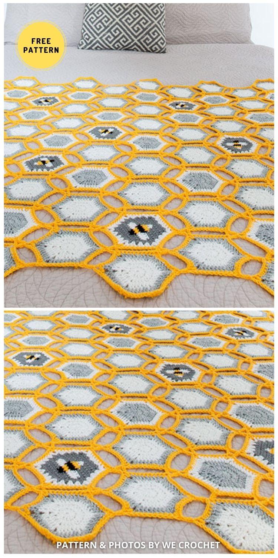 Hexie Bee Throw - 9 Super Cute Bee Blanket Crochet Patterns