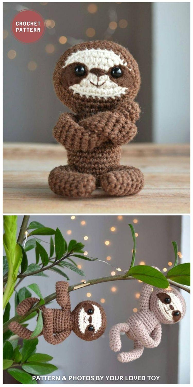 Mini Amigurumi Sloth - 8 Cute Amigurumi Sloths Crochet Patterns For Your Little One
