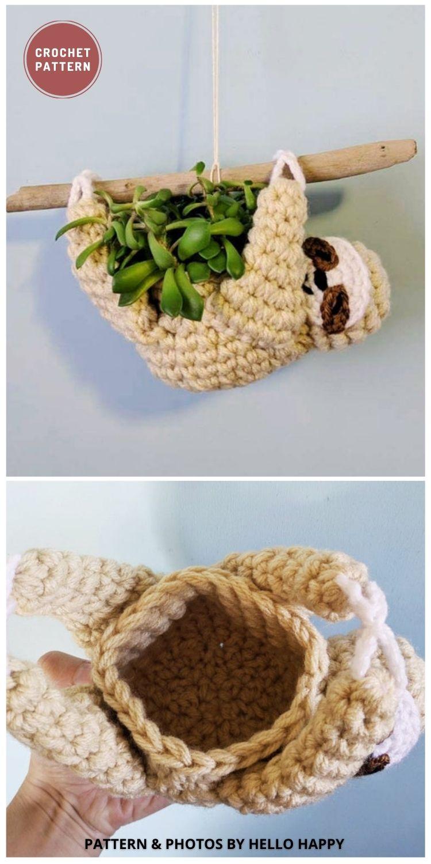 Mini Succulent Sloth Planter - 8 Cute Amigurumi Sloths Crochet Patterns For Your Little One