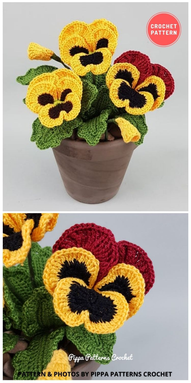 Pansy and Viola - 9 Beautiful Crochet Wedding Flower Bouquets For The Bride