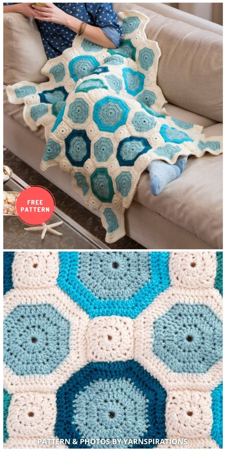 Red Heart Mosaic Throw - 7 Free Unique Mosaic Blanket Crochet Patterns To Make