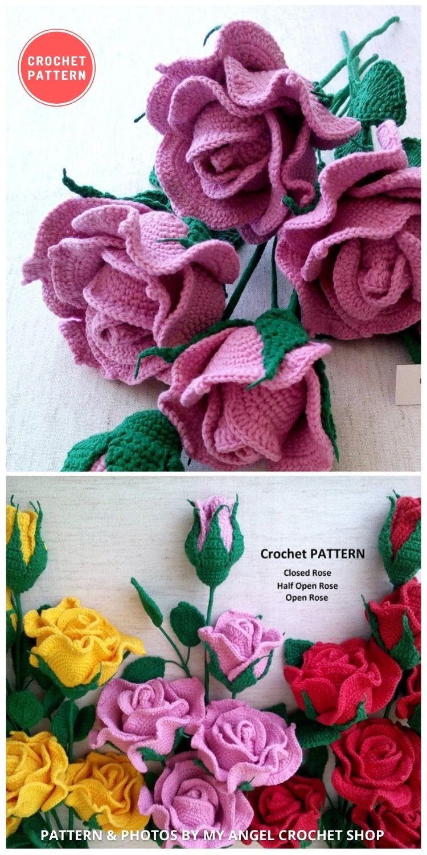 Rose Bouquet - 9 Beautiful Crochet Wedding Flower Bouquets For The Bride