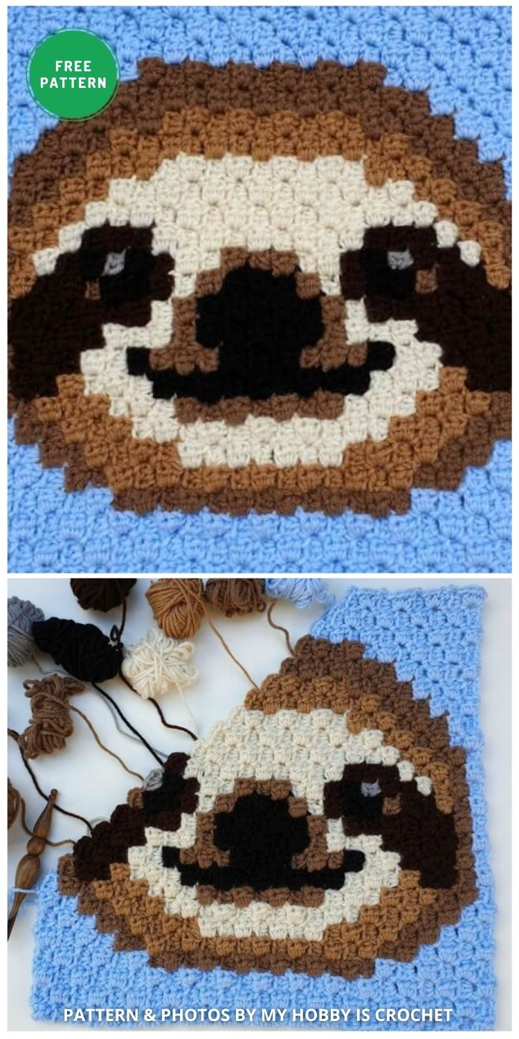 Sloth C2C Square - Wildlife Graphghan - 5 Free Crochet Sloth Blanket Patterns For Your Little One