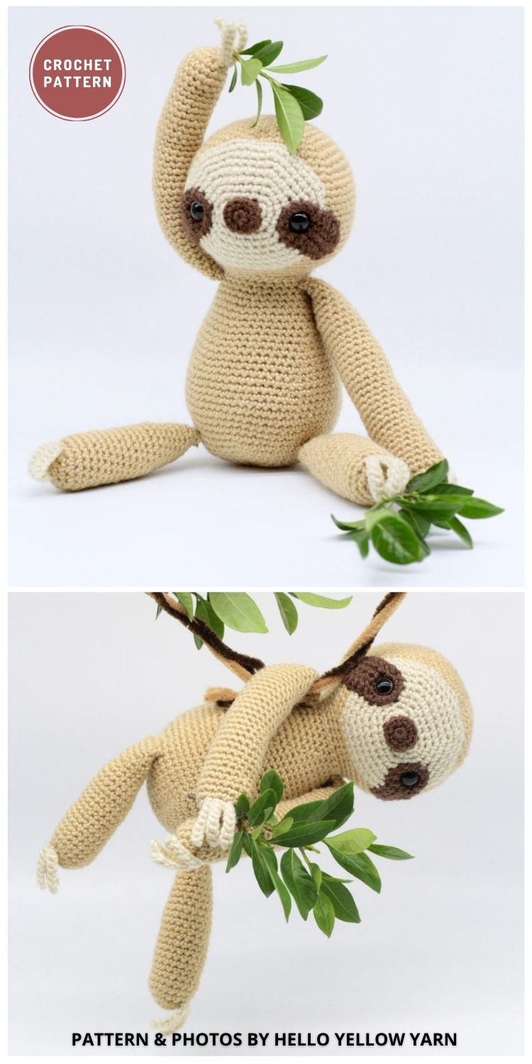 Slow Mo the Sloth - 8 Cute Amigurumi Sloths Crochet Patterns For Your Little One
