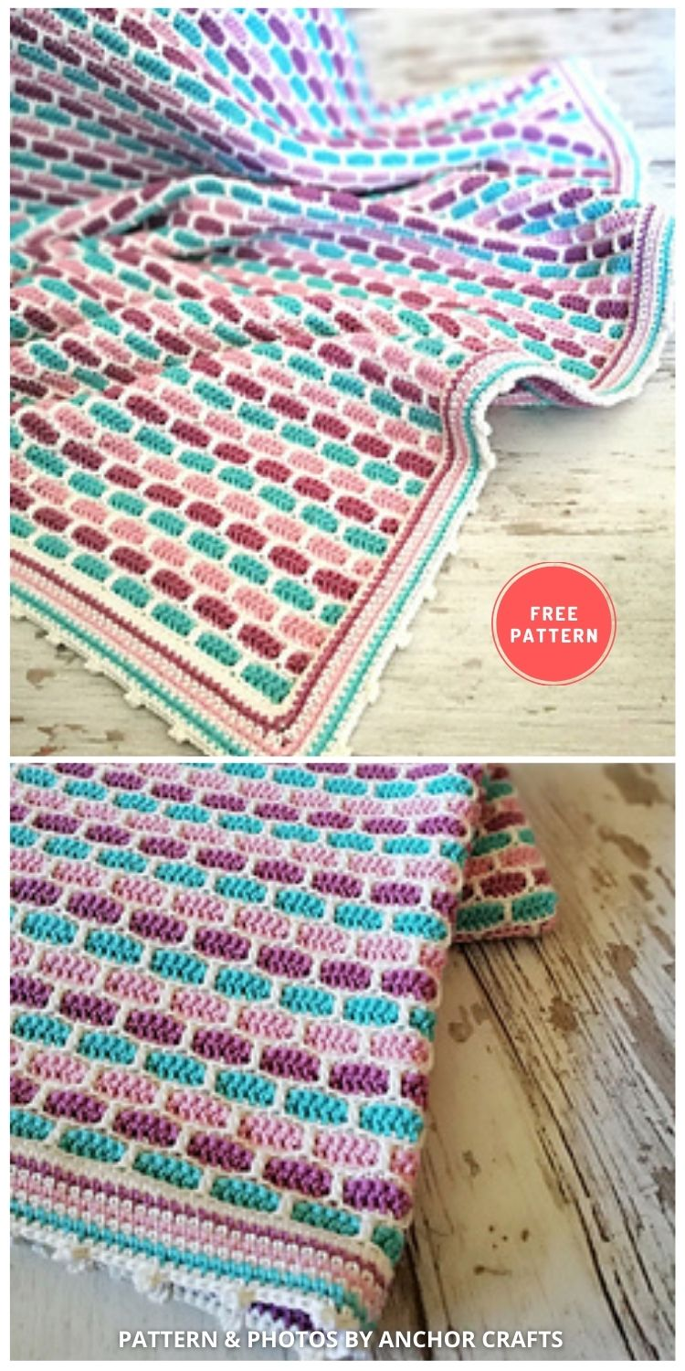 Smooth Tiles Blanket - 7 Free Unique Mosaic Blanket Crochet Patterns To Make