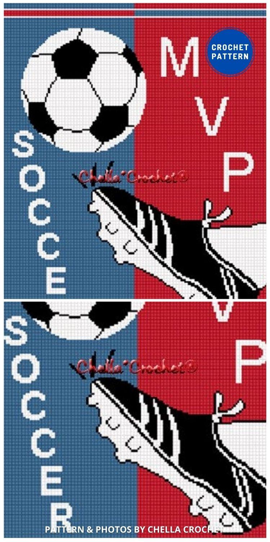 Soccer Ball Kick Afghan Crochet - 7 Father's Day Crochet Blanket Ideas