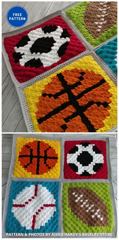 Sports Baby Blanket - 7 Father's Day Crochet Blanket Ideas