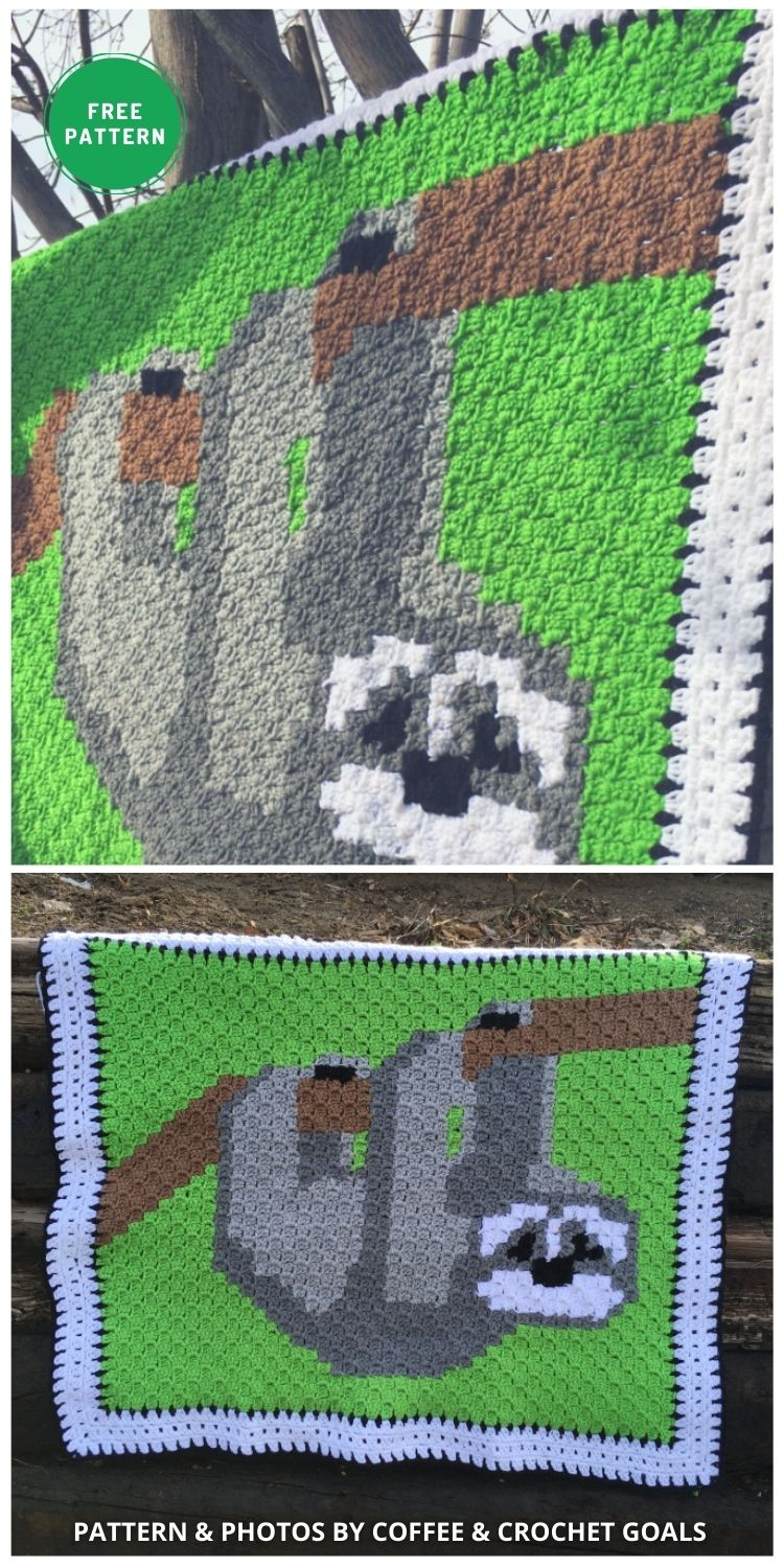 Three Toed Sloth C2C baby blanket - 5 Free Crochet Sloth Blanket Patterns For Your Little One