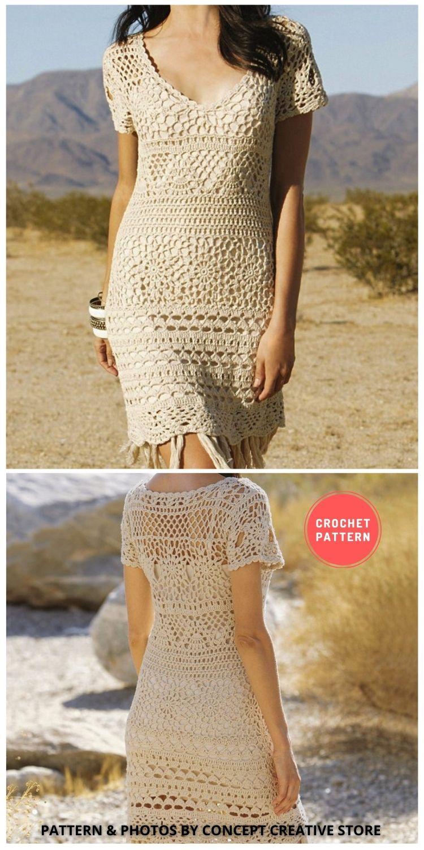 V-neck Crochet Dress - 5 Modern Crochet Summer Dresses To Wear This Summer