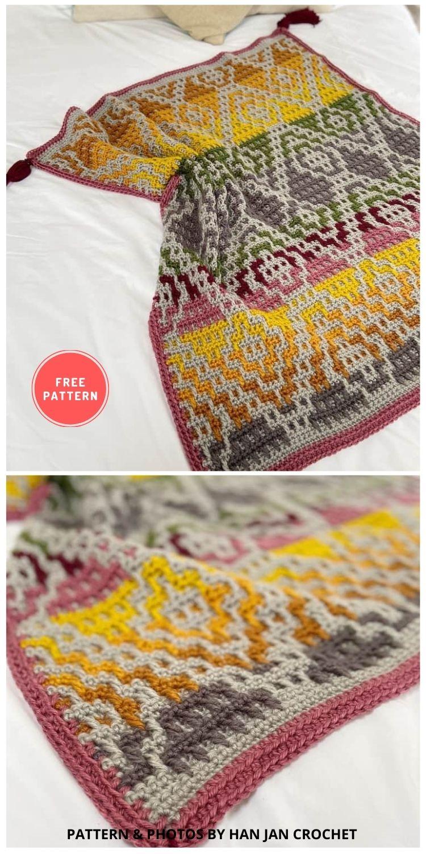Wanderers Blanket - 7 Free Unique Mosaic Blanket Crochet Patterns To Make