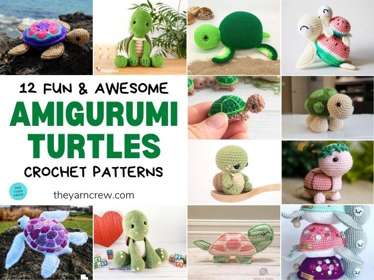 12 Fun & Awesome Amigurumi Turtle Crochet Patterns FB POSTER