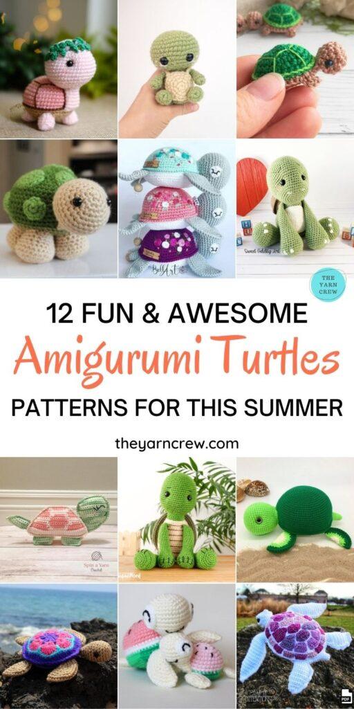 12 Fun & Awesome Amigurumi Turtle Crochet Patterns PIN 1