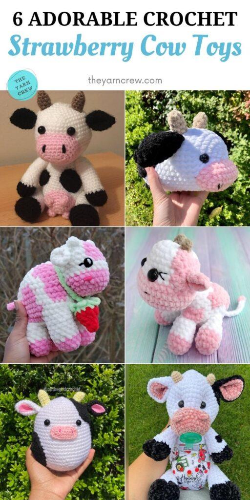 6 Adorable Crochet Strawberry Cow Toys PIN 2