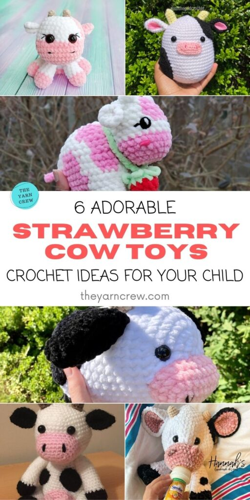 6 Adorable Strawberry Cow Toy Crochet Ideas For Your Child PIN 1