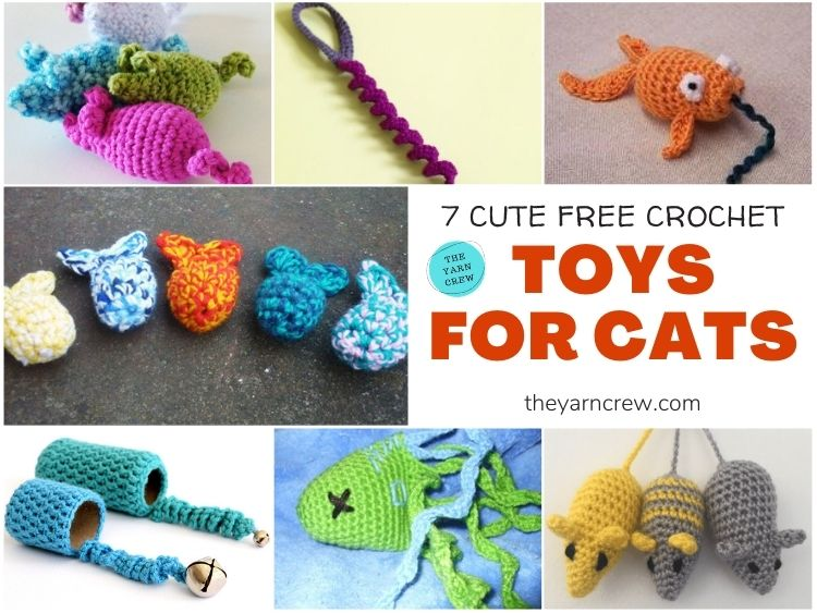 7 Cute Free Crochet Toys For Cats FB POSTER