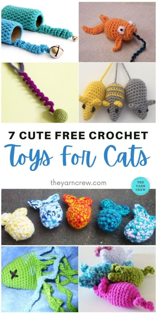 7 Cute Free Crochet Toys For Cats PIN 1