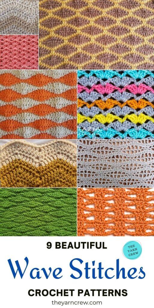 9 Beautiful Wave Stitch Crochet Patterns PIN 3