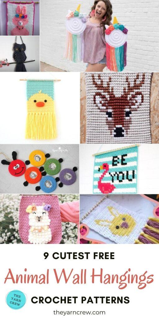9 Cutest Free Animal Wall Hangings Crochet Patterns PIN 3