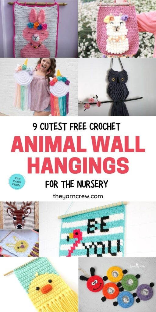 9 Cutest Free Crochet Animal Wall Hangings For The Nursery PIN 1