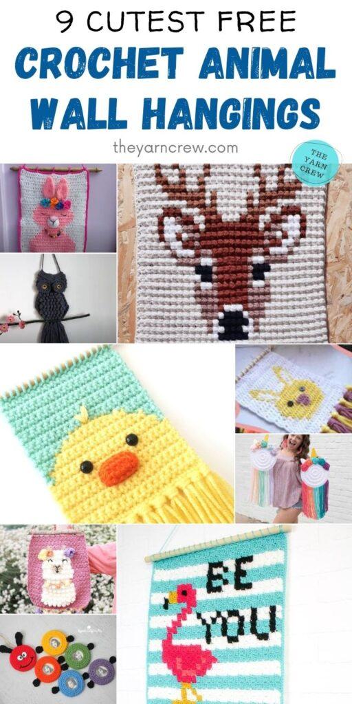 9 Cutest Free Crochet Animal Wall Hangings PIN 2
