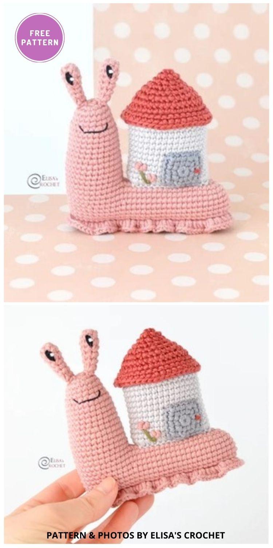 Abigail the Snail - 8 Free Slugs & Snails Crochet Patterns