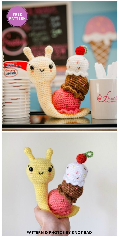 Amigurumi Ice Cream Snail - 8 Free Slugs & Snails Crochet Patterns