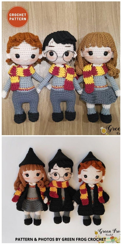 Amigurumi Three Wizards - 9 Best Crochet Amigurumi Harry Potter Toys For Your Kids