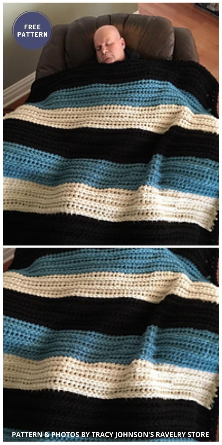 Big Man's Weighted Blankie - 6 Free Crochet Weighted Blanket Patterns For Better Sleep