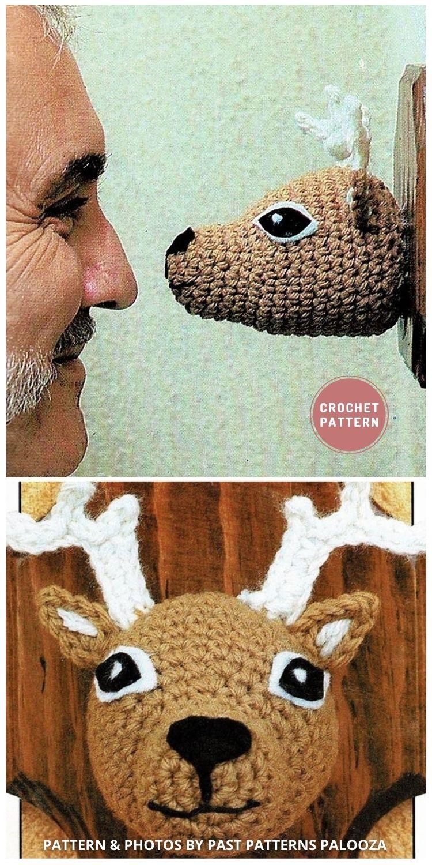 Buck Stag Deer Head Trophy - Top 6 Crochet Trophy Head Patterns