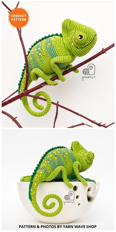 Carl the Chameleon - 8 Realistic Crochet Animal Patterns