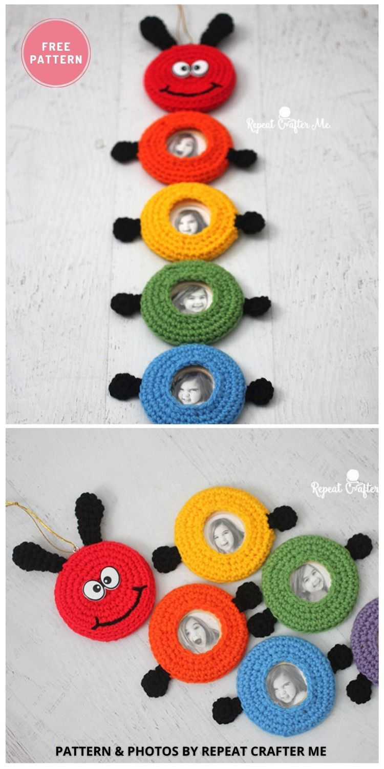 Crochet Caterpillar Picture Frame Wall Hanging - 9 Cutest Free Crochet Animal Wall Hangings For The Nursery