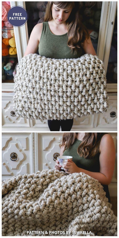 Crochet Mini Basket Weave Blanket - 6 Free Crochet Weighted Blanket Patterns For Better Sleep