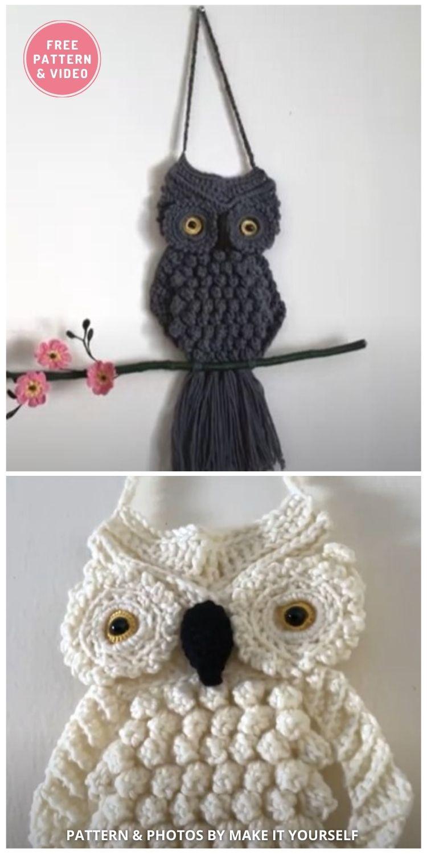 Crochet Owl Wall Hanging - 9 Cutest Free Crochet Animal Wall Hangings For The Nursery