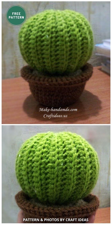 Crochet Round Cactus - 10 Free Amigurumi Cactus Crochet Patterns To Decorate Your Home