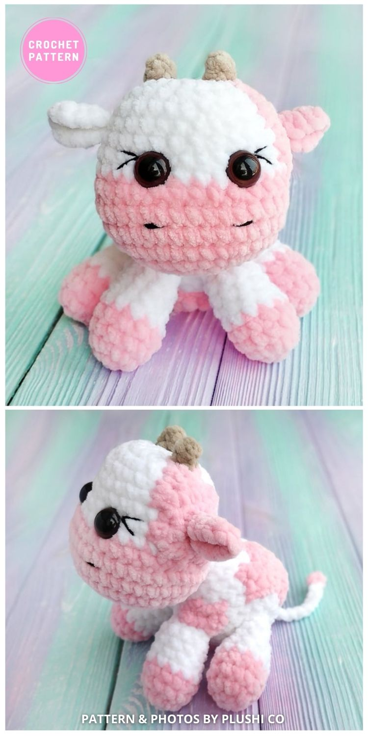 Crochet Strawberry Cow - 6 Adorable Strawberry Cow Toy Crochet Ideas For Your Child (1)