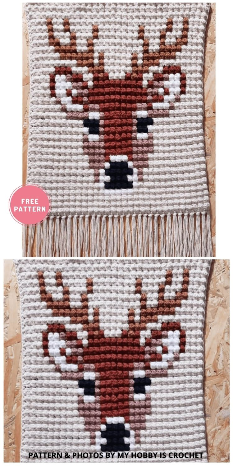 Deer Stag Wall Hanging - 9 Cutest Free Crochet Animal Wall Hangings For The Nursery