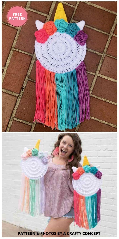 Epic Unicorn Wall Hanger - 9 Cutest Free Crochet Animal Wall Hangings For The Nursery